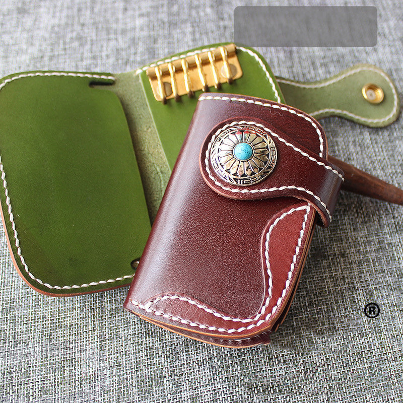 Handmade Green Leather Mens Womens Small Key Holders Key Wallets Coffee Card Key Wallet For Men