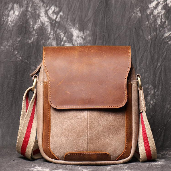 Simple Khaki Brown LEATHER Mens Vertical SIDE BAG COURIER BAG Vertical MESSENGER BAG FOR MEN