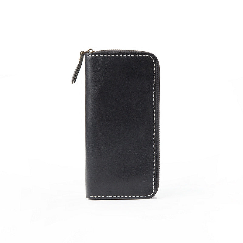 Black Handmade Leather Mens Long Wallet Bifold Zipper Clutch Wallet CellPhone Wallet For Men