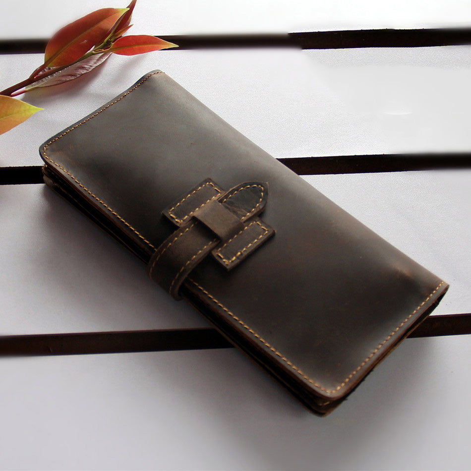 Handmade Dark Brown Leather Mens Bifold Long Wallet Cards Long Wallet For Men
