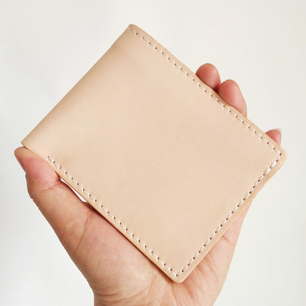 Light Beige Handmade Mens Bifold Leather Small Wallets Cool Short Wallet for Men
