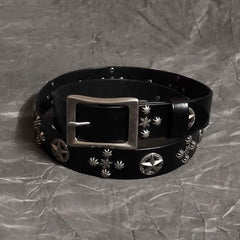 Cool Black Punk Leather Star Metal Rock Belt Motorcycle Belt Leather Belt For Men