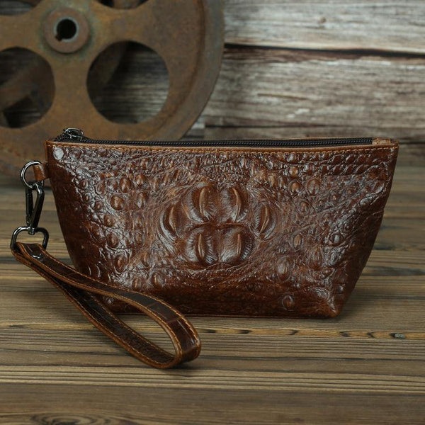 Brown Crocodile Pattern Mens Leather Zipper Clutch Wristlet Purse Bag Clutch Bags Phone Bag For Men