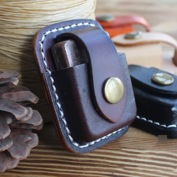 Mens Coffee Leather Classic Zippo Lighter Case Black Handmade Zippo Lighter Holder with Belt Clip