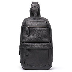 Brown Leather Men's Sling Bag Sling Backpack Chest Bag Black Sling Pack One Shoulder Backpack For Men
