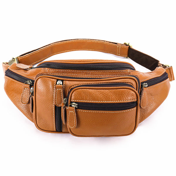 Cool Leather Brown Men's Fanny Pack Black Waist Bag Hip Pack For Men