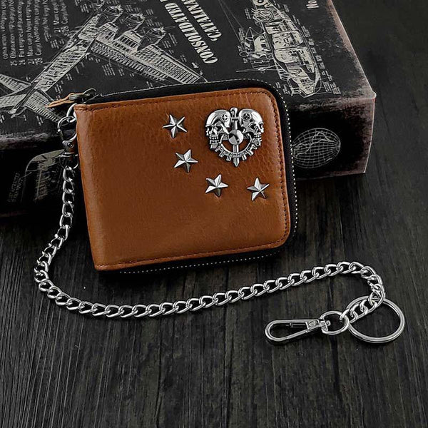 Badass Brown Leather Men's Bifold Small Biker Wallet Chain Wallet Wallet with chain For Men