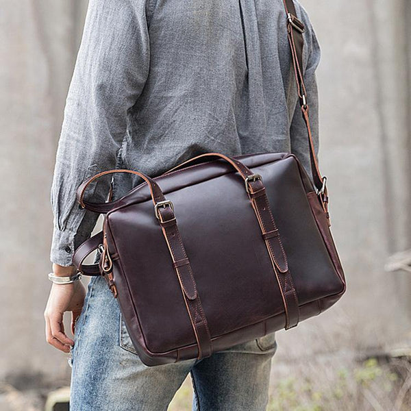 Dark Brown Cool Leather Mens Large 15 inches Briefcase Laptop Briefcase Messenger Bags Side Bags Work Bag for Men