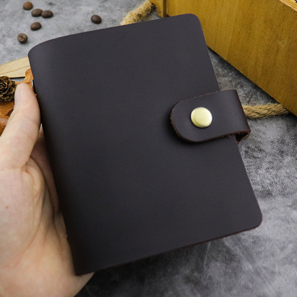 RFID Leather Mens Small Brown Wallet Cardholder Wallet Dark Coffee Front Pocket Wallets for Men