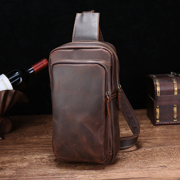 Vintage Brown Leather Men's Sling Bags Chest Bag One Shoulder Backpack For Men