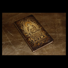 Handmade Leather Tooled Shakya Muni Buddhism Notebook Journal Travel Book Diary