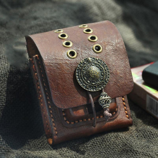 Cool Handmade Brown Leather Mens Zippo Cigarette Case with Lighter Holder Belt Loop for Men