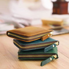 Leather Small Mens Wallet Zipper Short Front Pocket Wallet Card Wallet Small Wallet for Men