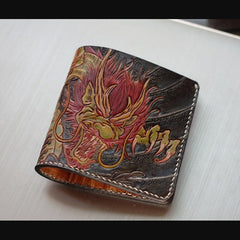 Handmade Leather Chinese Dragon Tooled Mens billfold Wallet Cool Slim Wallet Biker Wallet for Men