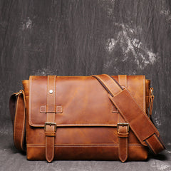 Vintage Brown LEATHER MENS Messenger Bag Side Bag Brown Postman Bag Courier Bag FOR MEN
