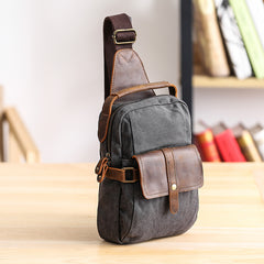 Canvas Leather Mens Khaki Chest Bag One Shoulder Backpack Green Sling Bag for Men