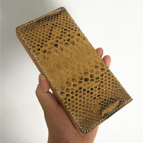 [On Sale] Handmade Vintage Mens Snake Skin Long Wallet Bifold Long Wallet for Men