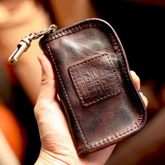Cool Black Leather Mens Key Wallet Zipper Coin Pouch Card Front Pocket Wallet For Men