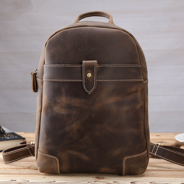 Vintage Brown Leather Men's Sling Bag Backpack Brown One Shoulder Backpack For Men