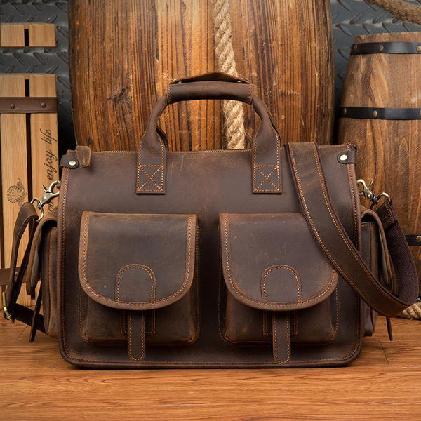 Vintage Mens Leather 14 inches Briefcase Side Bag Work Bags Travel Luggage Bag for Men