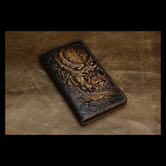Handmade Leather Tooled Alien-Predator Mens Long Wallet Cool Leather Wallet Clutch Wallet for Men