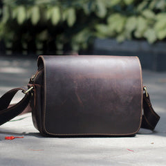 Cool Black Leather Mens Small Courier Bags Black Messenger Bags Brown Postman Bags For Men