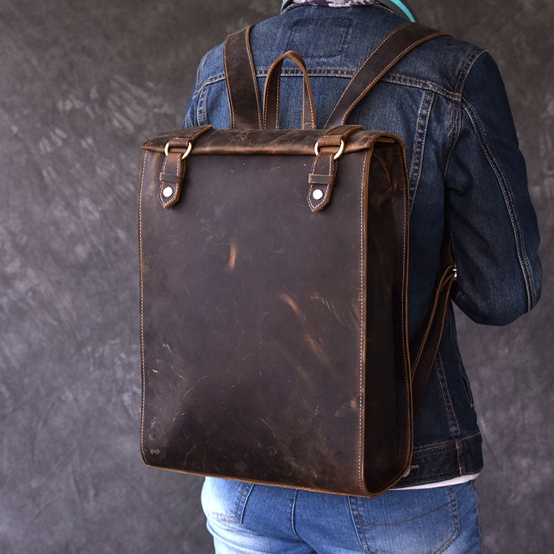 "Vintage Leather Mens 14"" Brown Computer Backpack Black Travel Backpack College Backpack for Men"