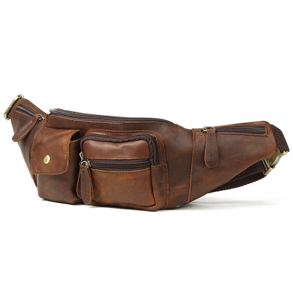 Vintage Brown Leather Men's Waist Bag Fanny Pack Hip Pack For Men