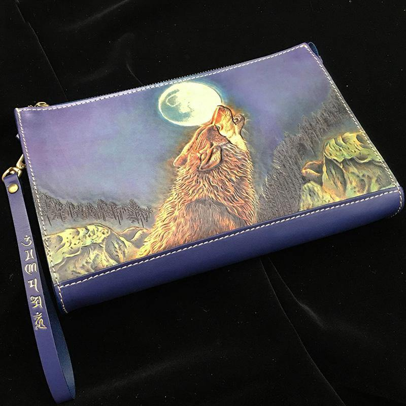 Blue Handmade Tooled Leather Wolf Clutch Wallet Wristlet Bag Clutch Purse For Men