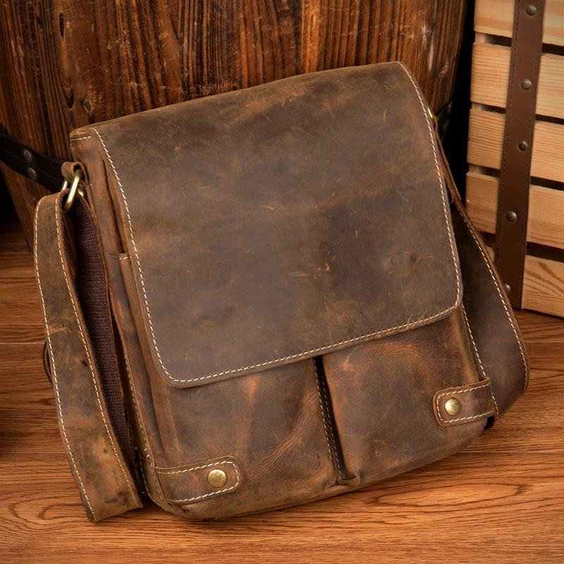 Cool Light Brown Leather 10 inches Mens Small Vertical Messenger Bags Courier Bag Postman Bag for Men