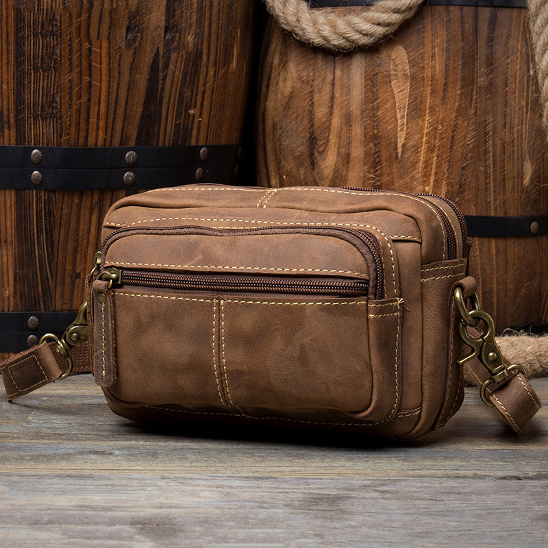 Cool Brown Leather Mens Small Side Bag Postman Bag Mini Messenger Bag for Men
