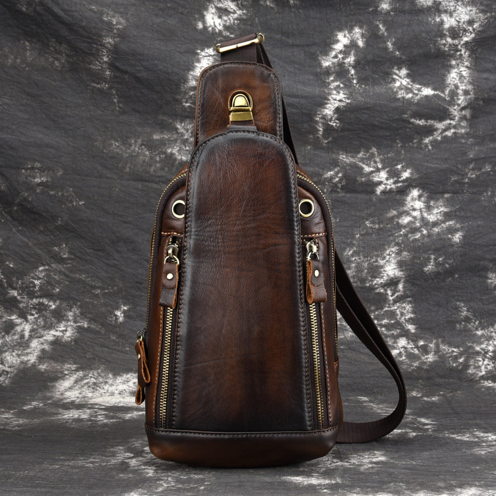 Vintage Tan Leather Men's Chest Bag One Shoulder Backpack Sling Bag For Men