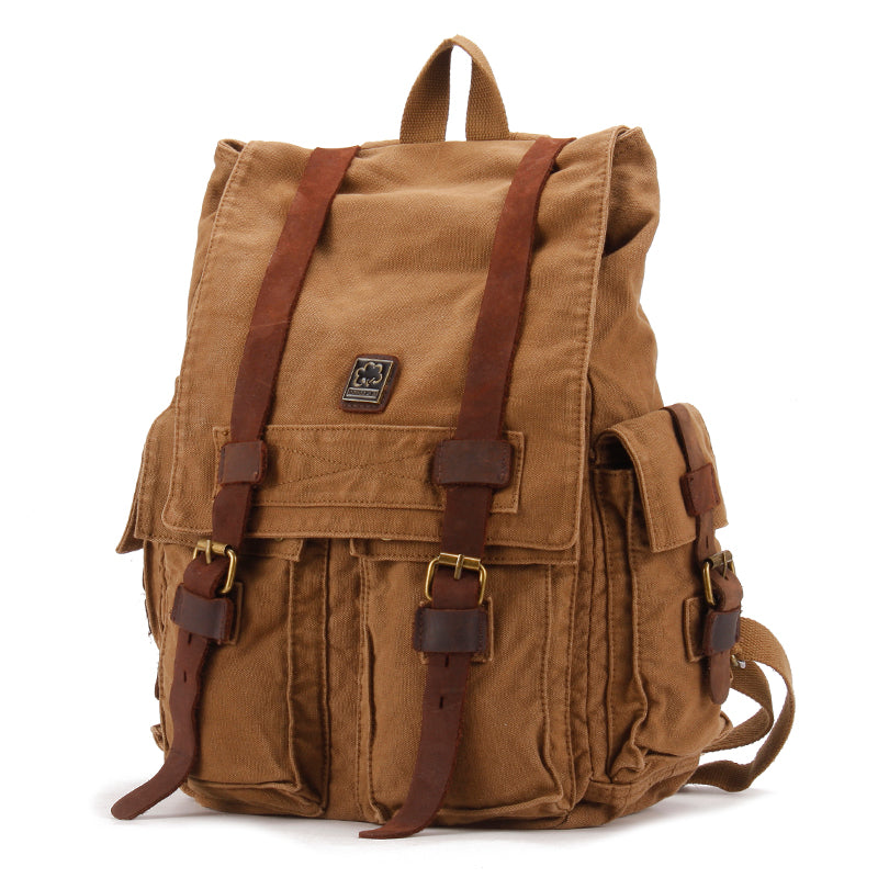 Brown CANVAS Mens Fashion Khaki 16'' Large Travel Bag College Backpack Hiking Backpack For Men