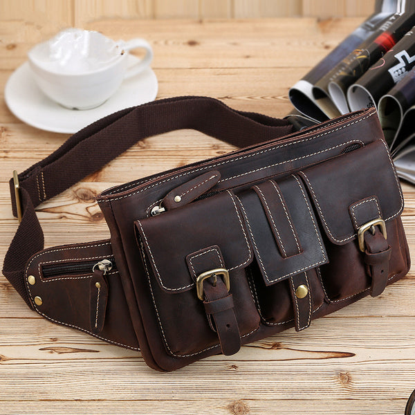 Cool Leather Brown Men's Fanny Pack Chest Bag Vintage Waist Bag Hip Pack For Men