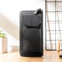 Black Cool Leather Mens Long Wallets Bifold Zipper Gray Long Wallet Card Wallet for Men