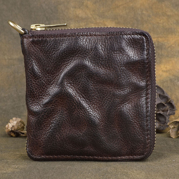 Handmade Wrinkled Mens Leather Cool billfold Chain Wallet Men Small Bifold Biker Wallets for Men