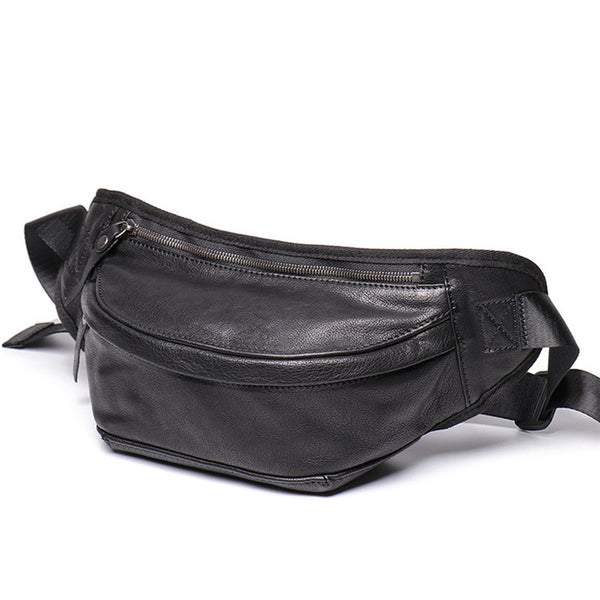 Brown MENS LEATHER 8 inches FANNY PACK Black Chest Bag BUMBAG Bag WAIST Bag For Men