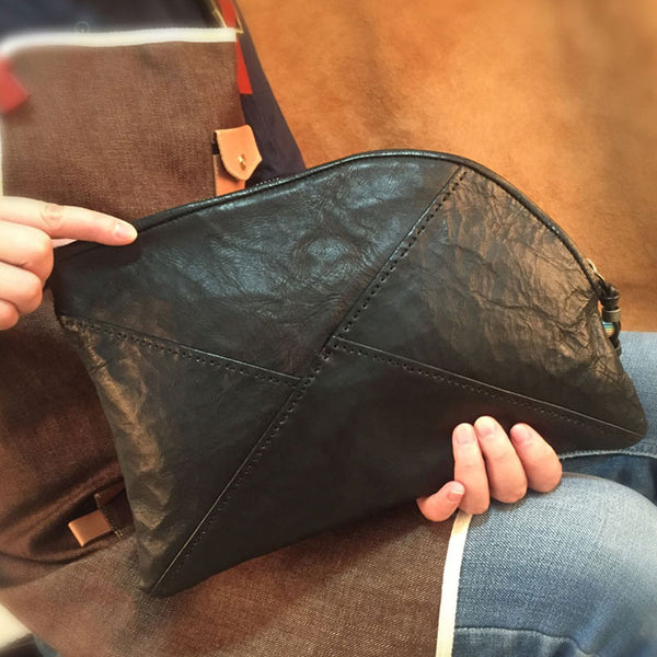 Genuine Leather Braided Mens Clutch Cool Slim Shoulder Bag Zipper Clutch Wristlet Wallet for Men