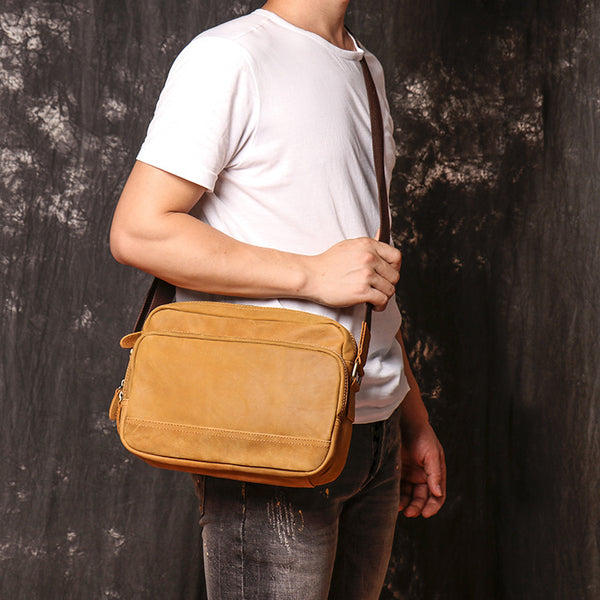 Tan Leather Men's Messenger Bag Side Bag iPad Courier Bags Tan Postman Bag For Men