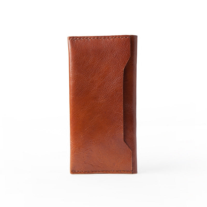 Handmade Brown Leather Mens Long Wallet Bifold Long Wallet CellPhone Wallet For Men