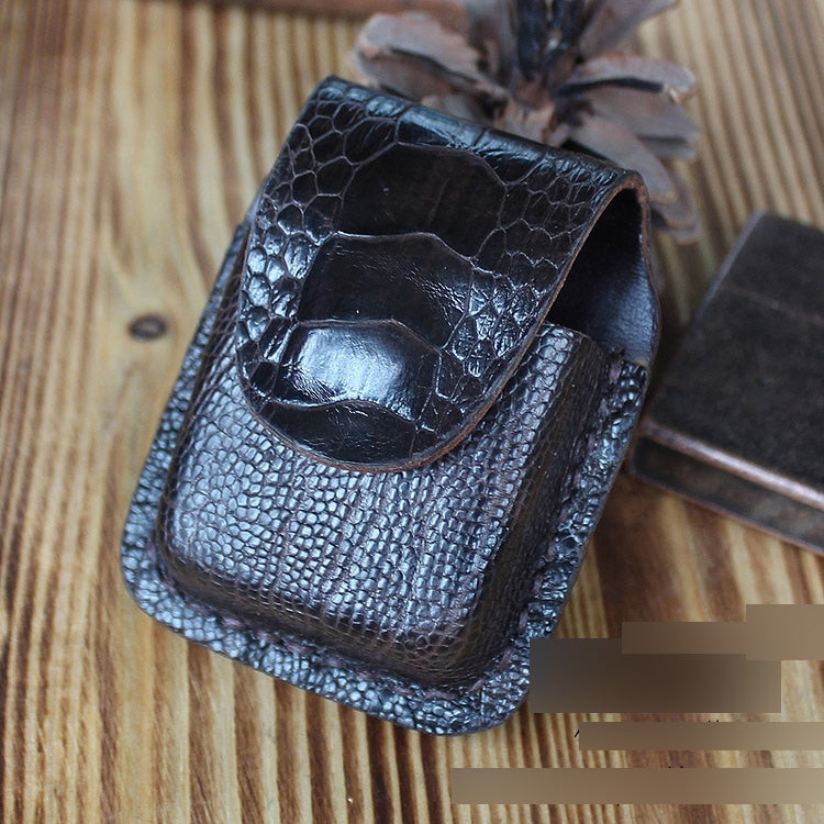 Mens Coffee Handmade Leather Classic Zippo Lighter Cases Zippo Lighter Holder with Belt Loop