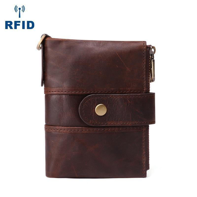 Bifold Leather Mens Dark Brown Small Wallet billfold Wallet Driver's License Wallet for Men