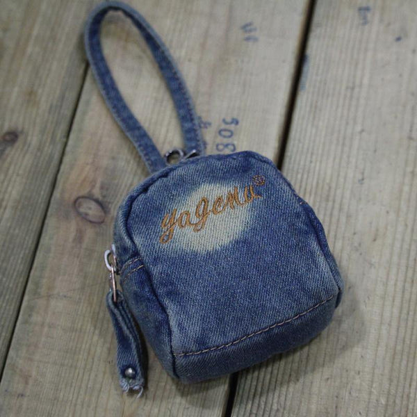 Denim  Womens Mens MIni Mobile Bag Wristlet Bags Jean Blue Clutch Purse For Women
