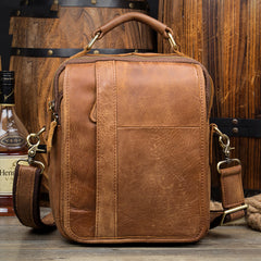 Casual Brown  Leather 10 inches Small Vertical Messenger Bag Crossbody Side Bag for Men