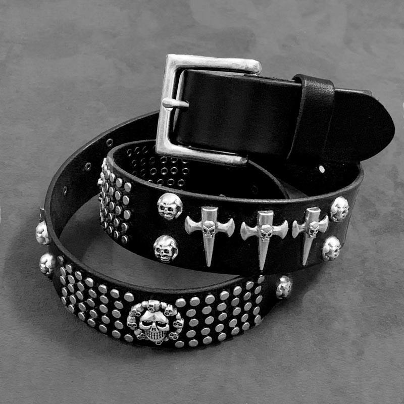 Badass Black Skull Leather Metal Belt Punk Skull Motorcycle Belt Leather Rock Belts For Men