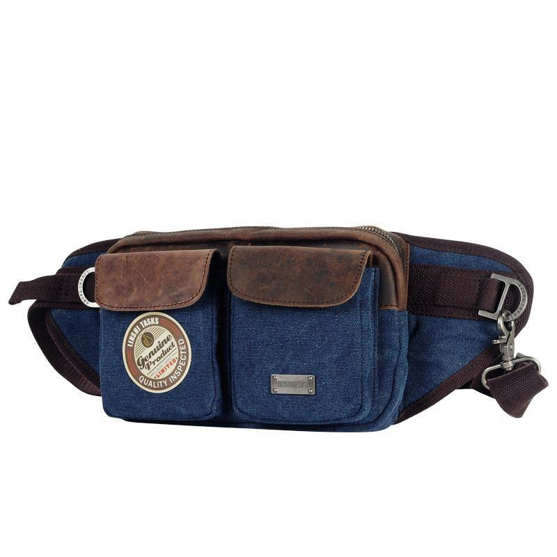 Navy Blue Canvas Leather Fanny Pack Men's Brown Chest Bag Canvas Sling Hip Bag Waist Bag For Men