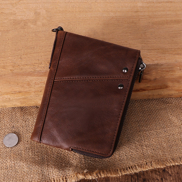 RFID Cool Brown Leather Men's Bifold Small Wallet Zipper billfold Wallet For Men
