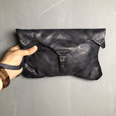 Handmade Genuine Leather Women Mens Clutch Cool Slim Wallet Zipper Clutch Wristlet Wallet for Men