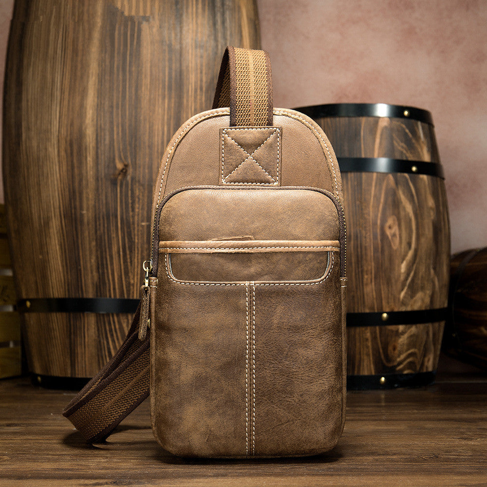 Badass Brown Leather Men's Sling Bag Chest Bag 8-inches One shoulder Backpack For Men