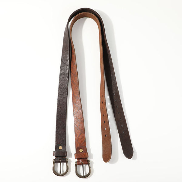 Casual Handmade Leather Vintage Simple Leather Belts Mens Khaki Belt Men Brown Leather Belt for Men